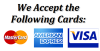 Now Accepting Credit Cards: MC, Visa, and American Express for Your Convenience